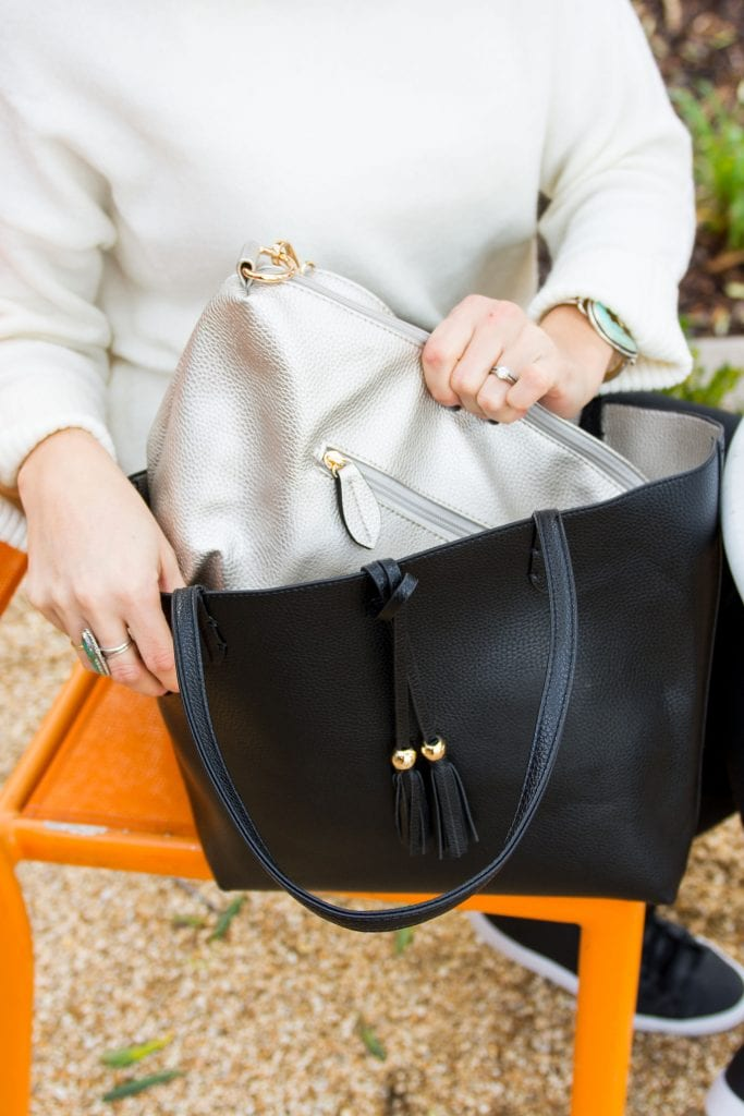 As it turns out, updating an all-black outfit with a pop of another neutral color, the suggestion of effort is there -- but it's easy, chic-looking fashion.