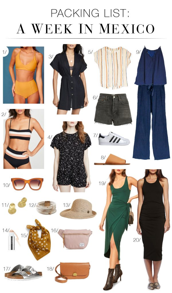 Before our vacay to the Yucatán Peninsula, we rounded up 20 must-have vacation outfit items. It's the ultimate packing list for Playa del Carmen, Mexico. Vamos!