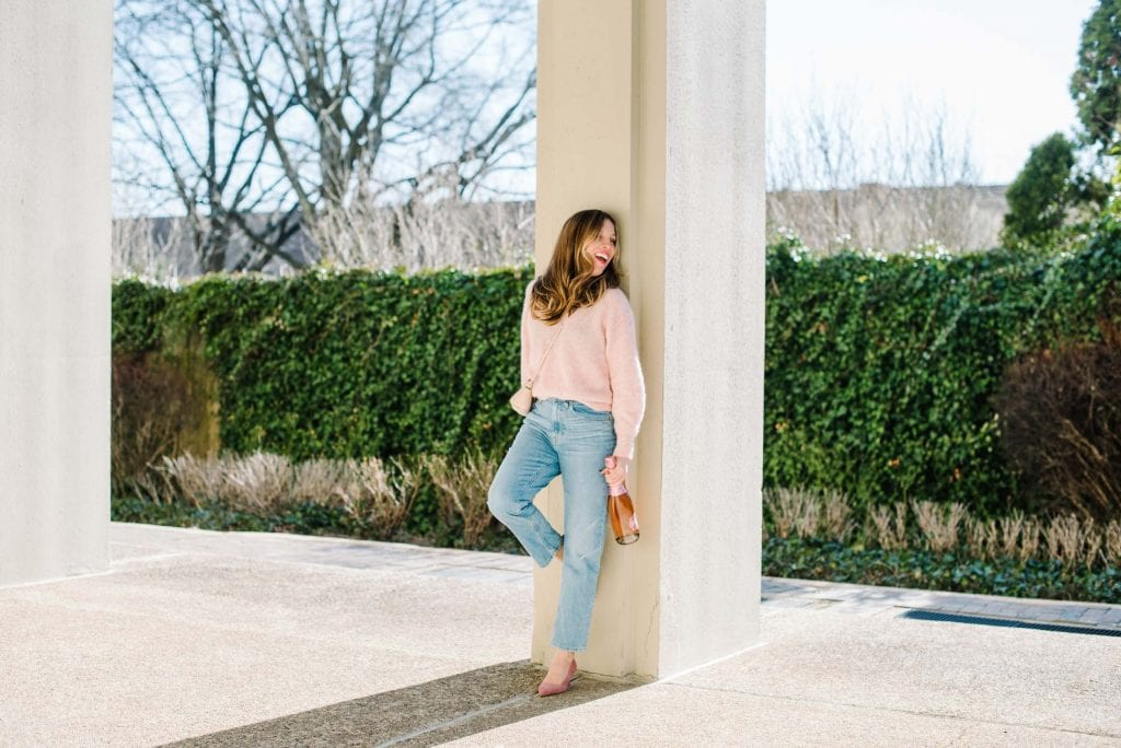 Everlane has super-cute Valentine's Day outfit ideas. For cold date nights, we stay on-theme w/ sweaters & jeans, but amp it up w/ heels & bright lipstick (pink this year).