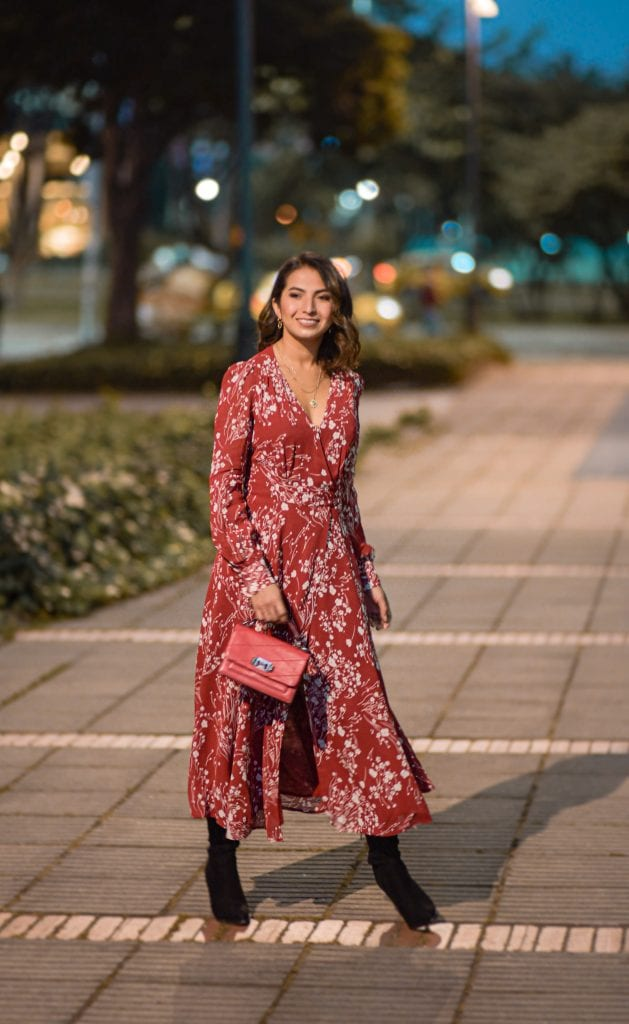 Wrap dresses are a go-to for family dinners, work events, parties, date nights & dressing up jeans. This romantic floral midi dress from Reformation is just right — & sustainable.