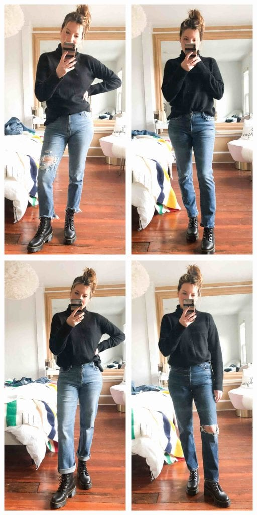 The 1 where we systematically try every combo of jeans & boots, in an attempt to shed  light on Which Boots Can Possibly Be Worn W/ Cropped Jeans In Winter.