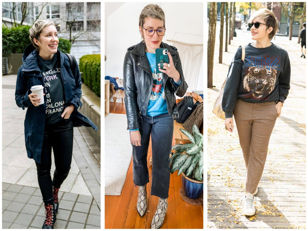 Graphic sweatshirts nail that casual vibe + add warmth & a pop of print. Winter outfit ideas: combine w/ leather, plaid, faux fur & animal print. Styled right here.