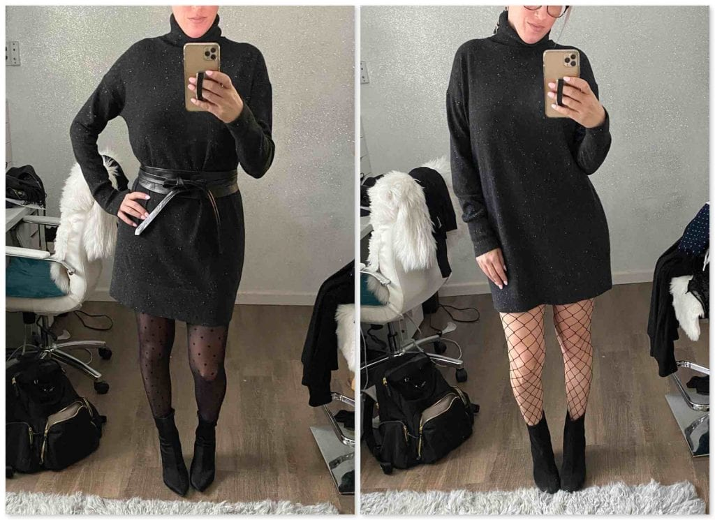 We challenged ourselves to mix it up a bit -- how many ways can we wear a cashmere turtleneck sweater dress? Answer: a lot. Our 5 outfits to try...