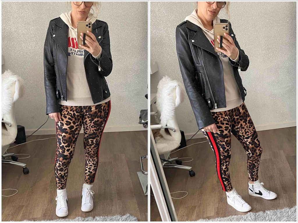 Leopard print leggings — not just for the gym. For a l'il minimalist wardrobe inspo, we're styling animal print leggings 8 ways — leather jackets, OTK boots, graphic tees & sweaters...