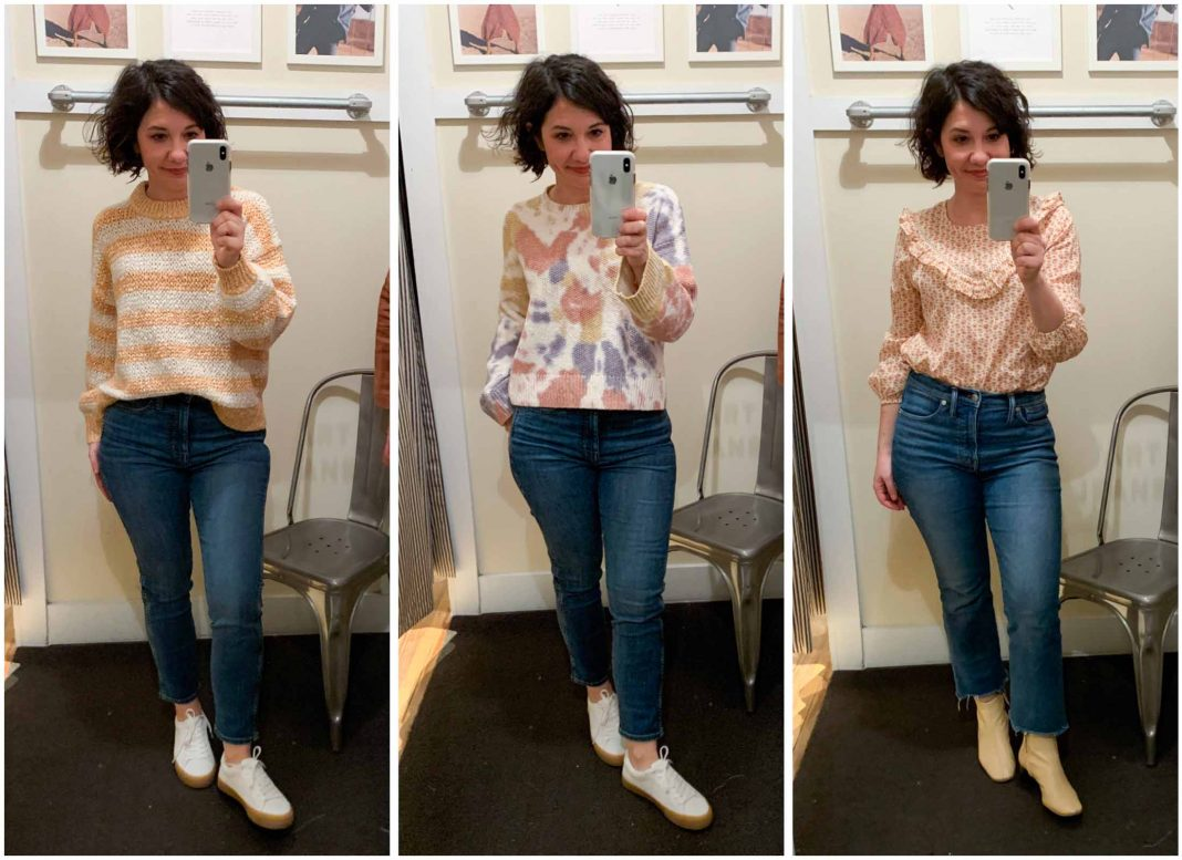 A glimpse of mid-winter sun gave us an itch for spring clothes. Thus, an afternoon of shopping at Madewell for tops, blouses & sweaters. Here's what's cute.