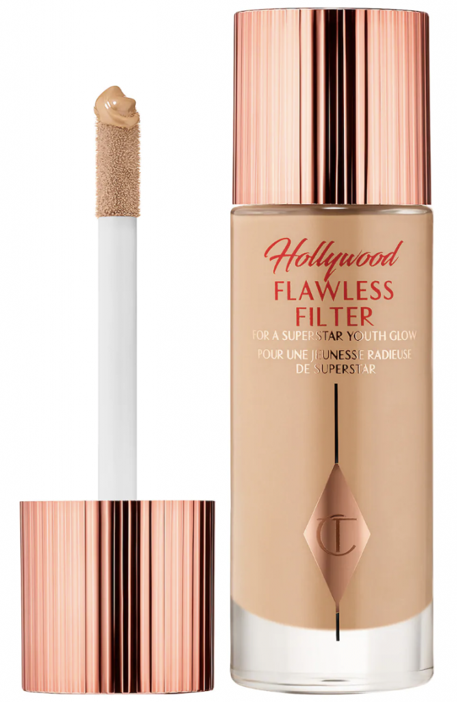 We're obsessed w/ Charlotte Tilbury Hollywood Flawless Filter. Our how-to video for applying it 3 ways (primer, highlighter, w/ foundation) & blend it for a subtle glow.