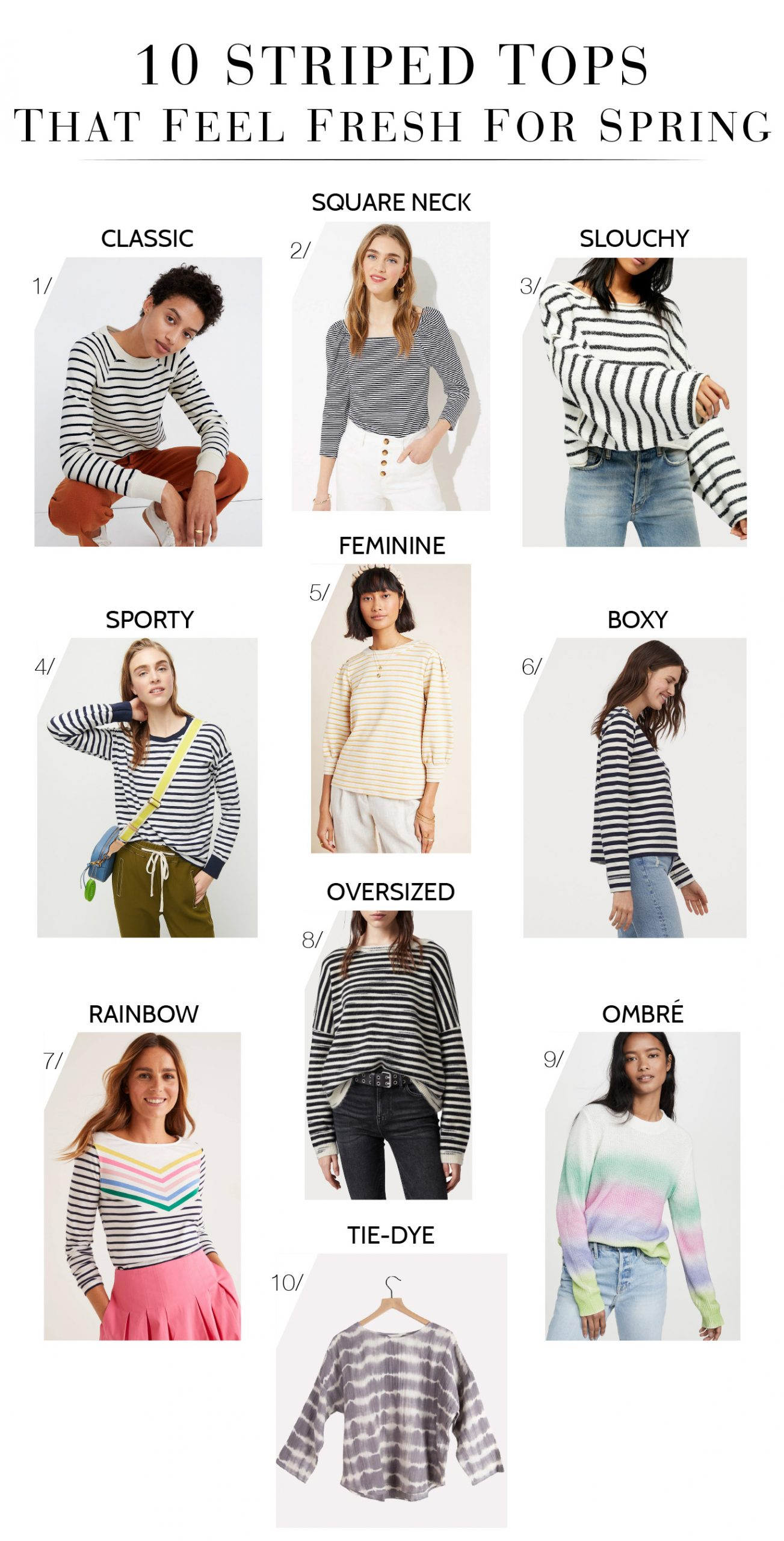 Top Mission For Spring: Find perfect striped shirts for cute outfit inspo. We❤️these 10 — from rainbow striped long-sleeve shirts to oversized striped tops.