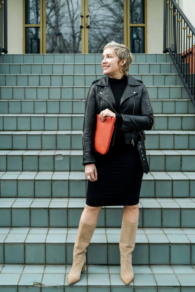 This black bodycon midi dress may be THE dress —even if you're not A Dress Person. Killer & comfy. We're wearing it to the office, for travel & to feel badass.