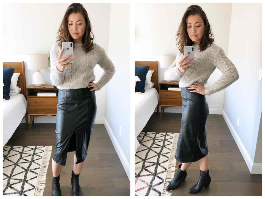 A shop-your-closet, minimalist wardrobe inspo with a black faux leather pencil skirt. Styling it up for everyday, date night, business casj & more — 1 midi skirt, 8 outfit ideas.