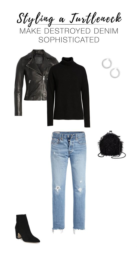 Under statement jackets, w/ destroyed denim, over slip dresses...we've got 7 outfit ideas for our fav black cashmere turtleneck sweater by Halogen.