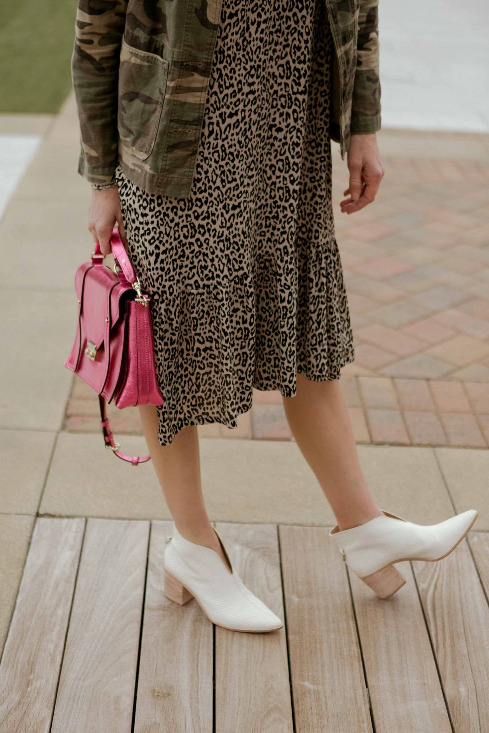 Animal print play dress + camo utility jacket & white booties = just the cute outfit idea we need to for the Late Winter, Hurry-Up-Spring feels. Bring it Spring.