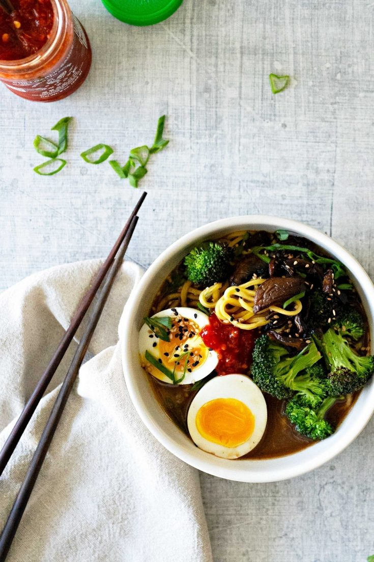 Vegetarian Caramelized Onion + Mushroom Ramen with Toasted Broccoli and Soft Boiled Eggs