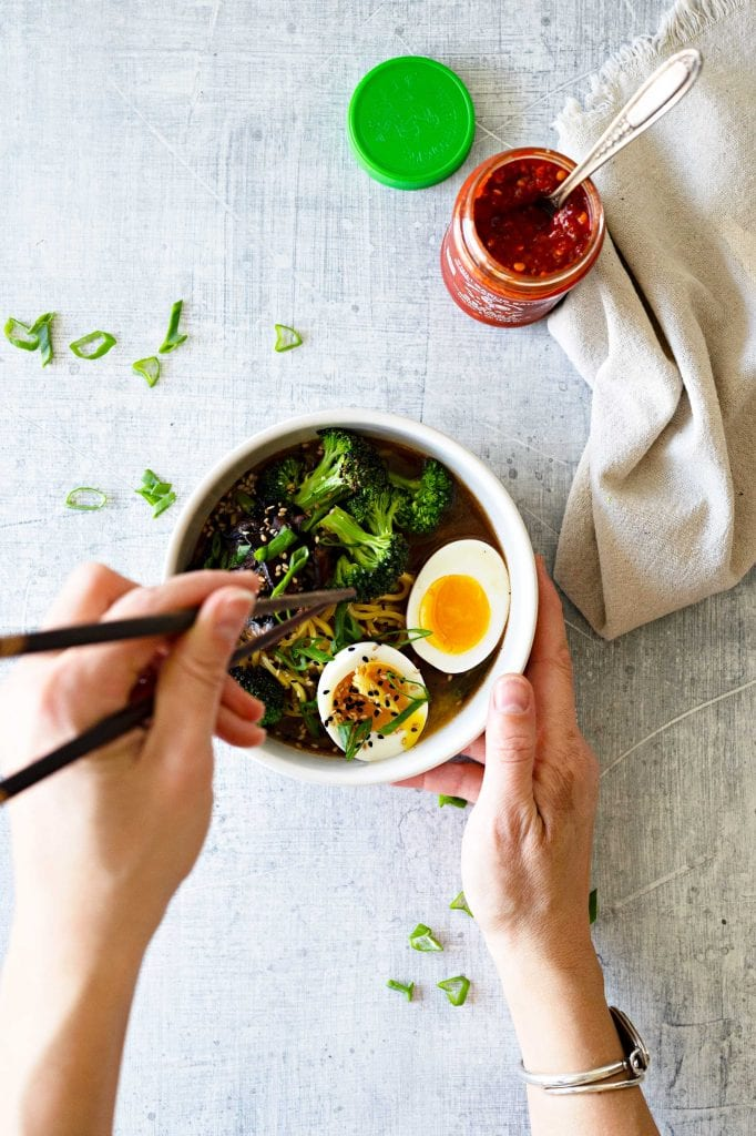 Our quick, easy vegetarian ramen bowl is a 1-bowl meal of chewy noodles & fresh veggies in a rich, homemade pantry-friendly broth. Use what you have at home.