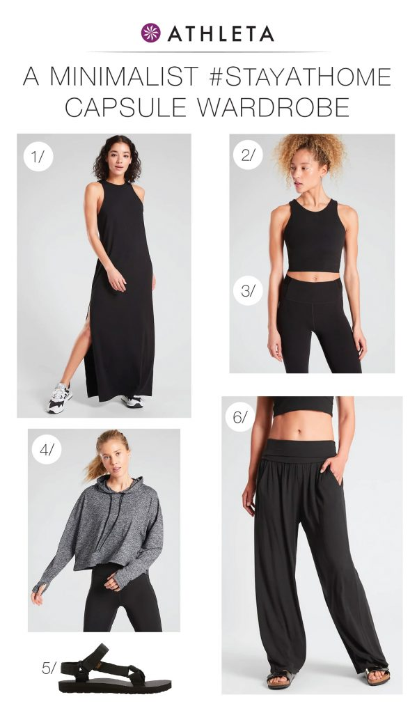 A work from home + working out outfit, a minimalist #StayAtHome capsule wardrobe & updated prints that double as neutrals? Athleta has the goods.