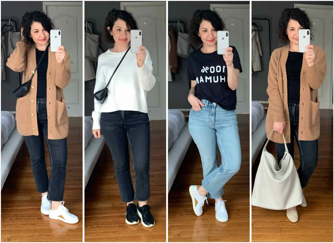 The Everlane outfit pieces I own + some new pieces (jeans, sneakers, cardi & bag) are just as good for staying at home as for outdoor galavanting. See my favs.