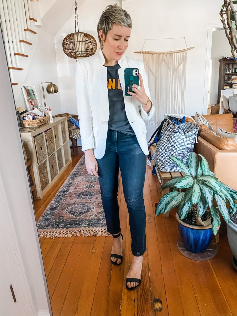 We're ALL trying this soft white blazer — it's shockingly good. See how Team TME is styling it 9 ways — virtual video meeting to date night, casual to tailored.