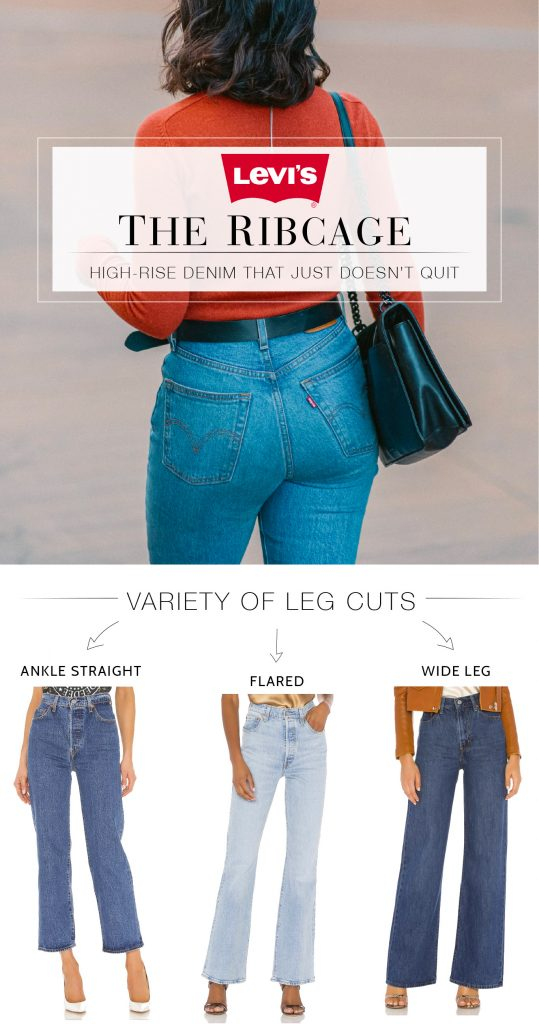 "Levi's Ribcage jeans — we're obsessed. An 11-12"" rise, are 99% cotton + 1% elastine & fit TTS. All that we love about flares & ankle straight fits — inside."