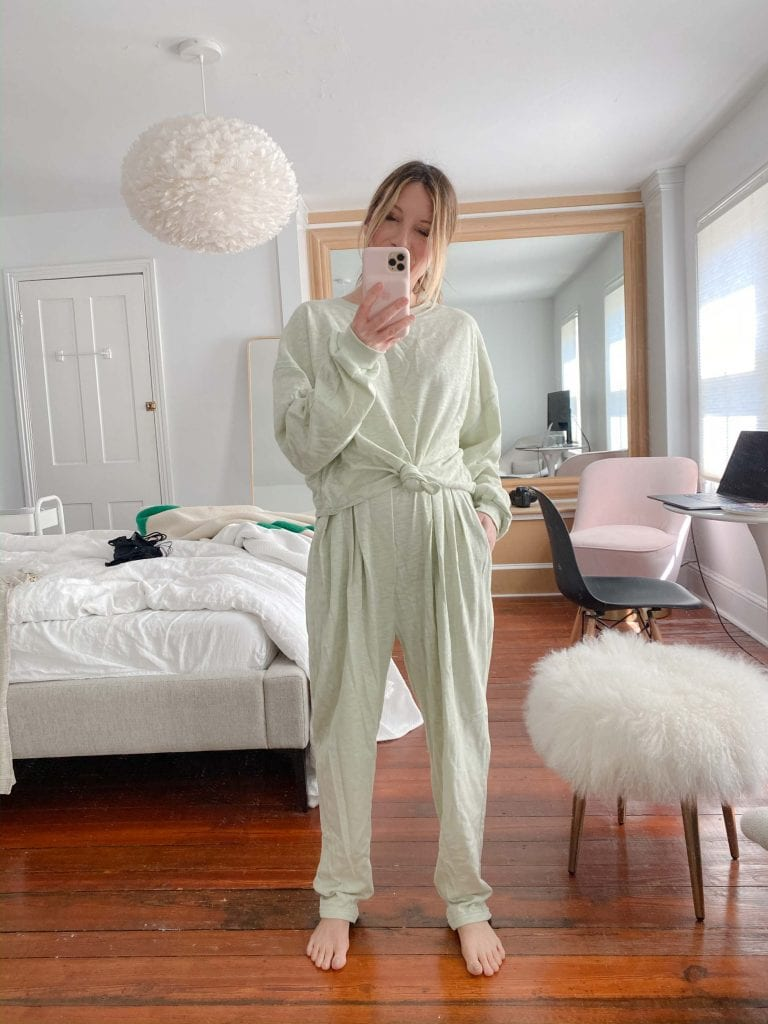 "We're drooling over Free People's cute-&-cozy loungewear sets. So in the name of Meaningless But  Distracting ""Research"", here are 3 comfy outfits we tried."