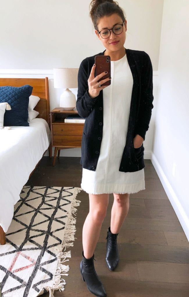 This white denim shift dress from J.Crew is a bit retro, a bit modern. The frayed hem keeps it casual. It's no-show & SO fresh. 11 outfit ideas, here.