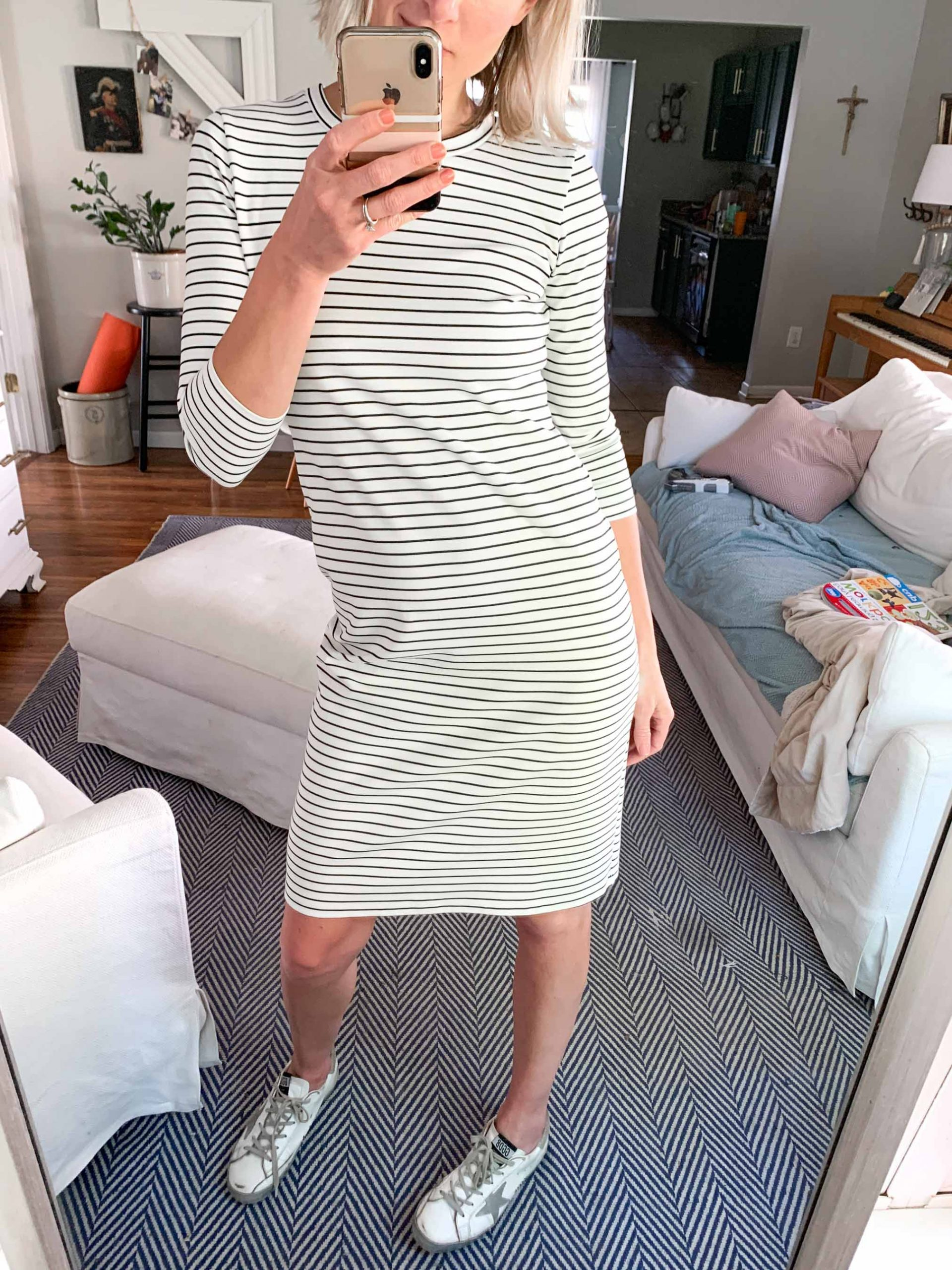 Comfy like leggings = this black & white striped dress. Pretty + Fun. Wear it w/ Doc Martens, Birkenstocks, Golden Goose, sandals & booties. 10 outfit ideas.