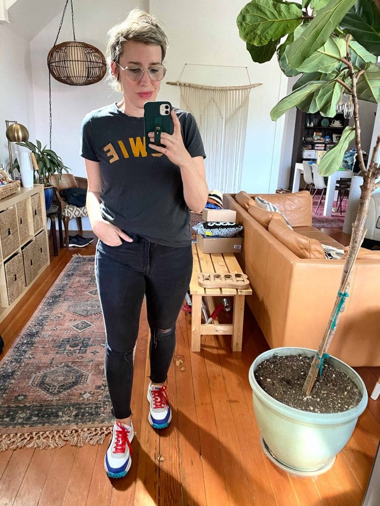 These colorful PUMA sneakers are SO fun & bouncy. The key to wearing...'loud sneakers' — neutrals. Quieter grays, blacks & earth-tone prints. 8 outfit ideas, inside.