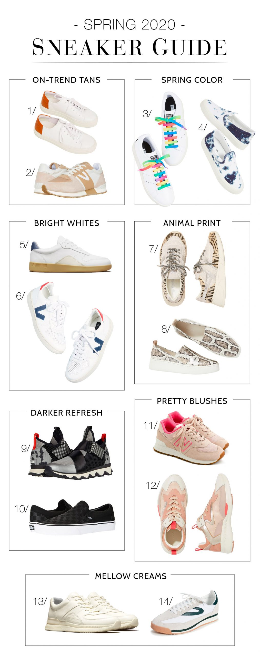 Cute fashion sneakers are a go-to — & a comfy 1, too. We're eyeing spring trends & colors, from tan to animal print, from Veja, Everlane, Adidas, Golden Goose & more.