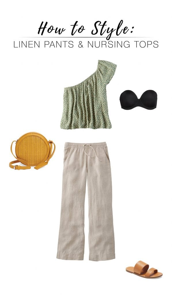 Wrap tops, button up shirts, v necks, blouses...we're pairing all these nursing-friendly styles with cute, drawstring linen pants for postpartum outfits. Hello, baby!