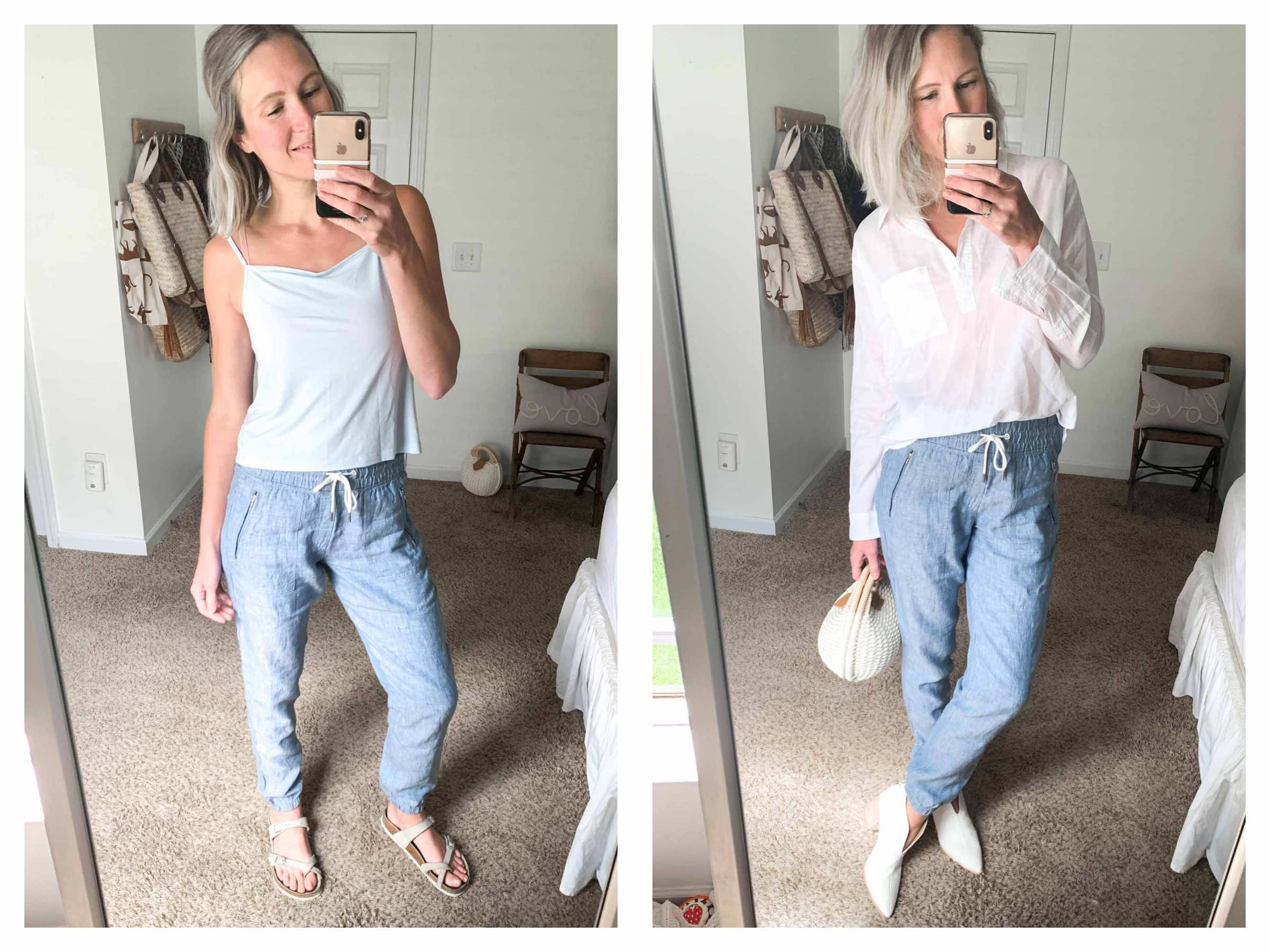 As something of a Panel of Experts On Elastic-Waist Pants, we're sharing the joggers, leggings & sweatpants we're wearing most during quarantine —styled 2 ways.