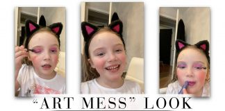 "Rules — out the window. Kids in makeup, w/ hair chalk — we're there. Add pink eye shadow, layers of blue lipstick...here's 1 fun ""art mess"" look how-to video."