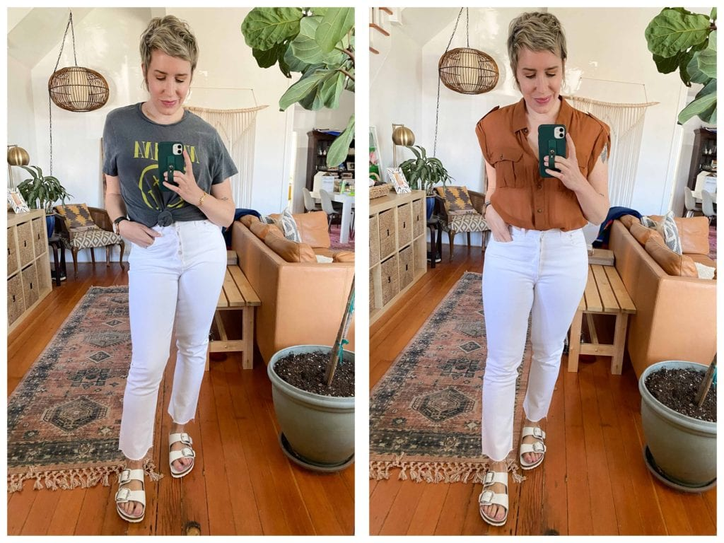 White Birkenstocks are good for the back — slippers apparently aren't meant to be worn 24/7. We've got 4 sandals outfit ideas to for home, spring & summer.