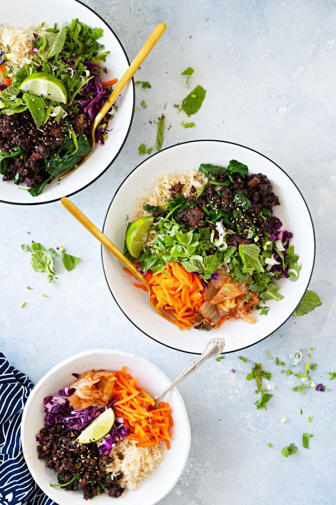 Vietnamese Caramelized Pork Bowl recipe -- an easy weeknight meal w/ the big flavors of family-friendly takeout in a 1-pot meal w/ fresh herbs & veggies.