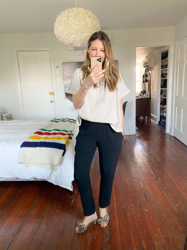 Perfect black pants? EILEEN FISHER's The System. The silk joggers make for cool, breezy, polished outfits. No wrinkles, machine-washable, sustainable, available in plus-size.