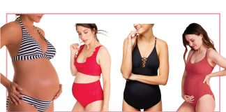 Let's swim, Mamas! We found cute, classic maternity bathing suits — some for pregnancy & into postpartum, too. Cute stripes, great colors & sexy details.