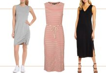 Found: 3 comfy dresses perfect for now (loungewear at home) & later (as cute summer outfits). We're styling a sporty dress, a classic striped midi & black tank.
