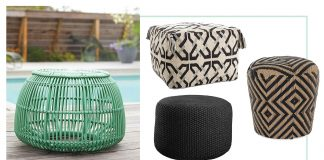 The Fatboy pouf is patio perfect. We also have some fun, cute all-weather stools & ottomans, great for outdoor seating that drain well for small spaces & lounge areas.
