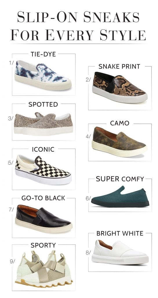 Slip-on sneakers are a lazy gal's BFF. They're multiseasonal + fun, cute, easy & comfy. From classic Vans to sustainable Allbirds, peep our fav slip-on tennies.
