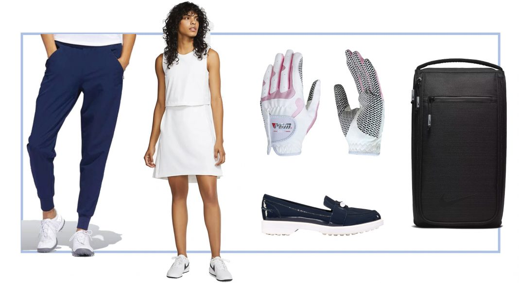 Under par & hole-in-one style. We're shopping cute ladies golf outfits (Adidas shoes, classic skirts, Nike caps, Vice gloves). 7 styles for a perfect round.
