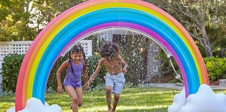 Narwhals, unicorns & other inflatable sprinklers + hydro hoops, trampoline water parks & plain ol' lawn sprinklers. Best outdoor water play for kids, inside.