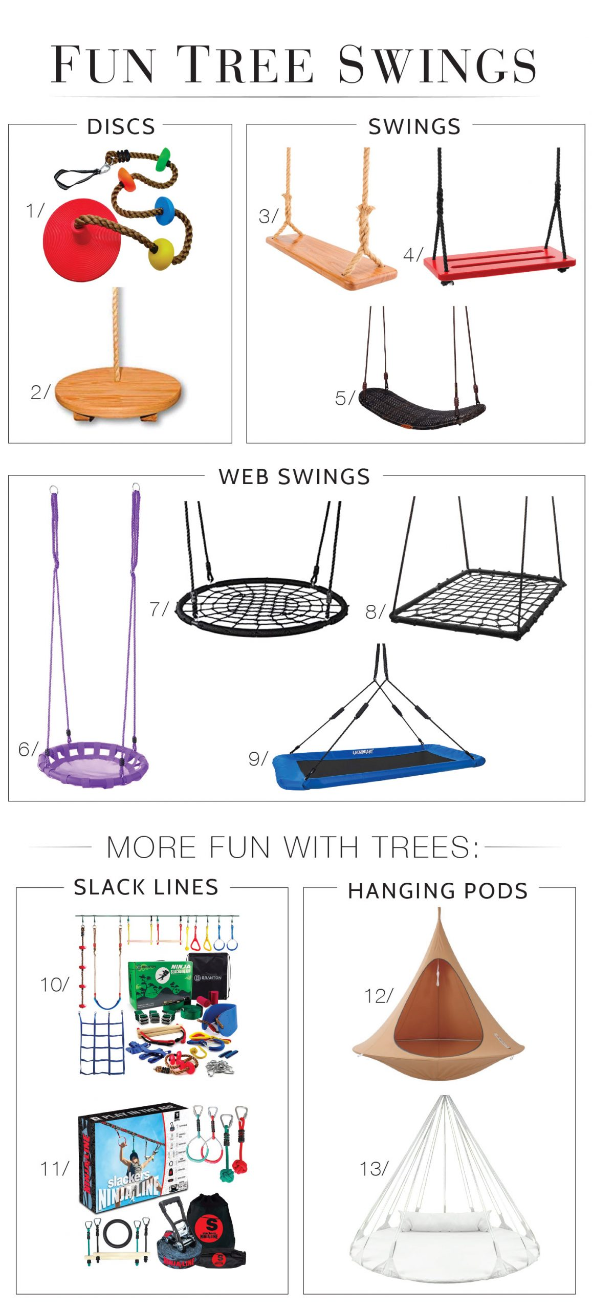 Outdoor fun at home is a must. 1 way to get there: tree swings, webs, discs & hanging pods for the yard. For kids & adults, these 10 are on our list.