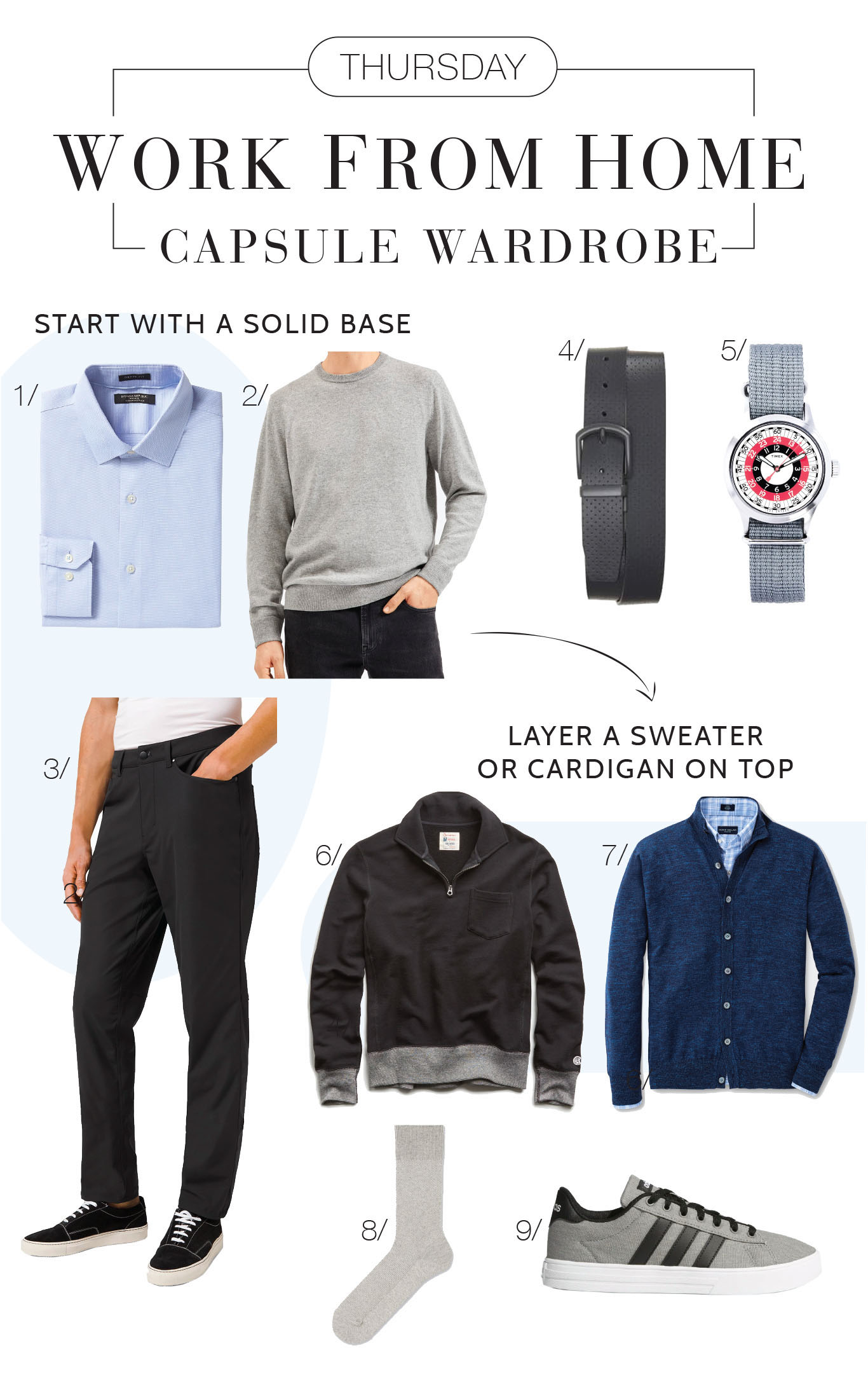 A Dress For The Job You Have/Want #StayAtHome Quarantine Edition –for men. Our work from home capsule wardrobe for all 7 days, to please everyone in the house.