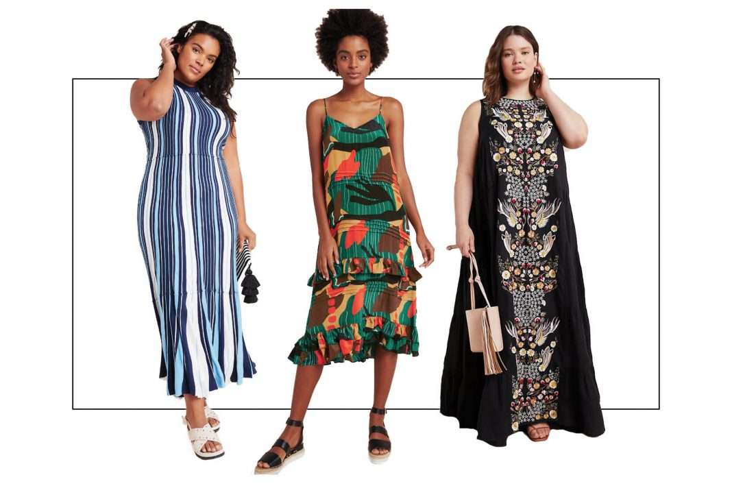 We're yearning to sweep about the house in dramatic loungewear. Like a gorg Anthropologie dress. Found: 10 dramatic midi, maxi & slip dresses to wear #athome.