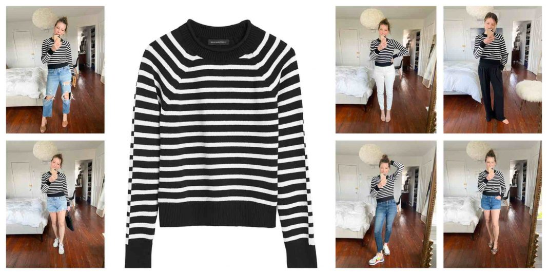 Banana Republic's striped cotton sweater is comfy & nonchalantly chic. It's the perfect topper & we're styling it for 6 outfit ideas.