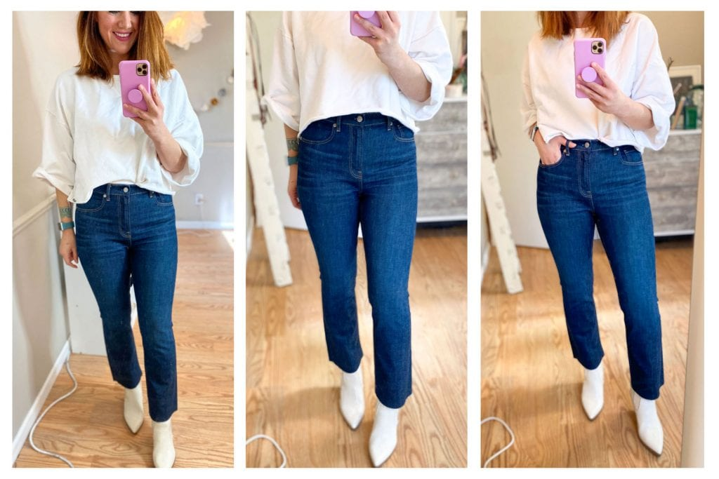 TME has big love for Everlane jeans. So we've got a big denim haul: see how cheeky bootcut jeans, high-rise skinny button fly jeans, the kick crop & more really fit.
