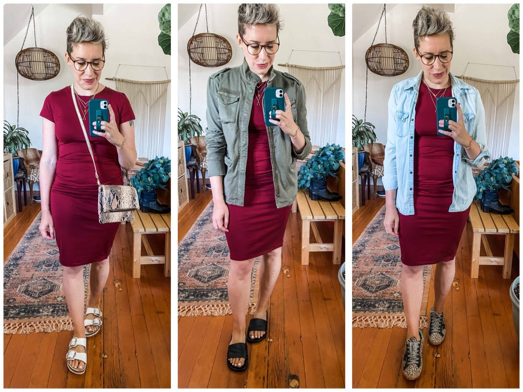 Alert —cute Amazon fashion find! This ruched bodycon t-shirt dress is similar to the Leith dress Team TME loves. 8 ways to wear it — with sneakers & sandals.