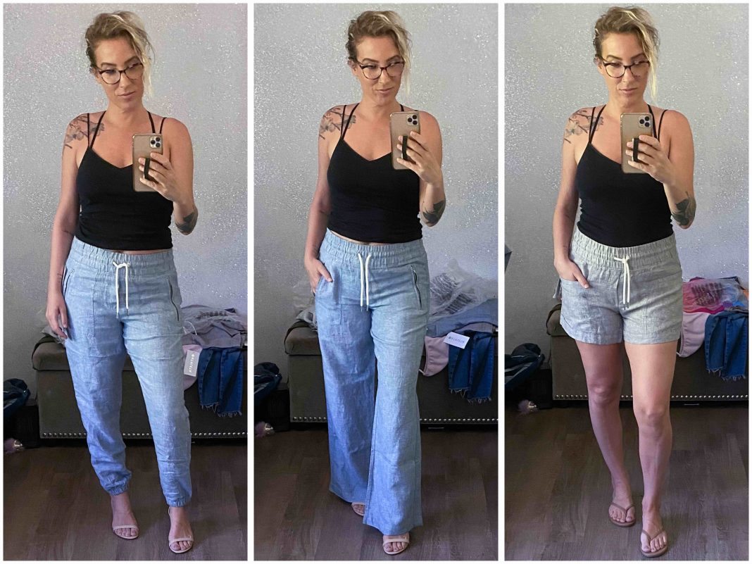 When we saw Athleta's Cabo Linen, we had to try it. The wide leg pants, the joggers & the 4