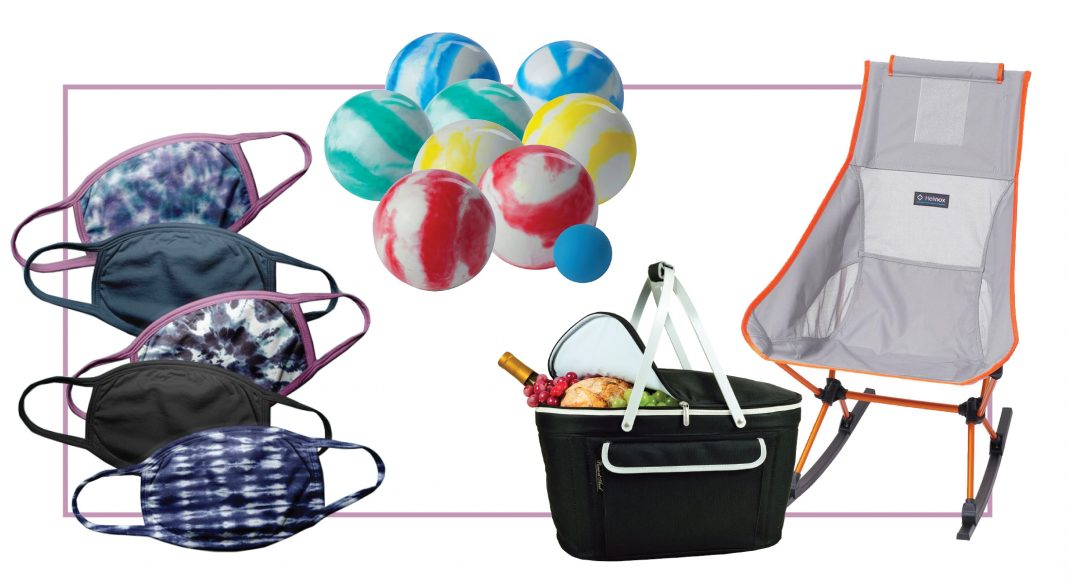 Face masks (obvi) + sippy cups, fun games, picnic blankets, music, utensils....basically all we need to socialize from a physical distance, right. #addtocart