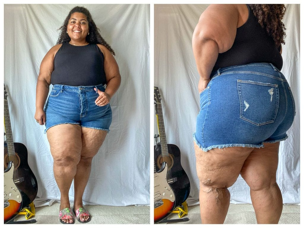 Y'all...when it comes to jean shorts, we think we found a pot of gold. Good American has crazy good cut-offs, Bermudas & even biker shorts. Review inside.
