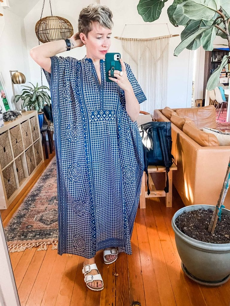Drooling over Emerson Fry caftans: beautiful fabric & small-batch sustainable fashion that's perfect for a summer loungewear upgrade.