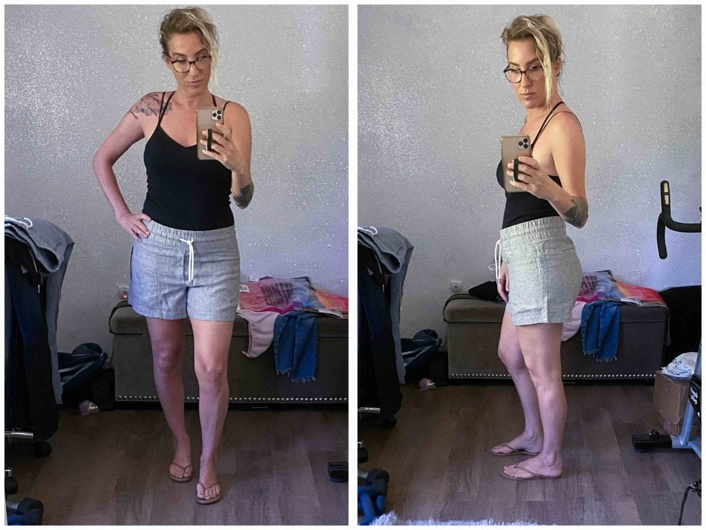 """When we saw Athleta's Cabo Linen, we had to try it. The wide leg pants, the joggers & the 4"""" shorts are killing it (& some come in petite sizes)."""