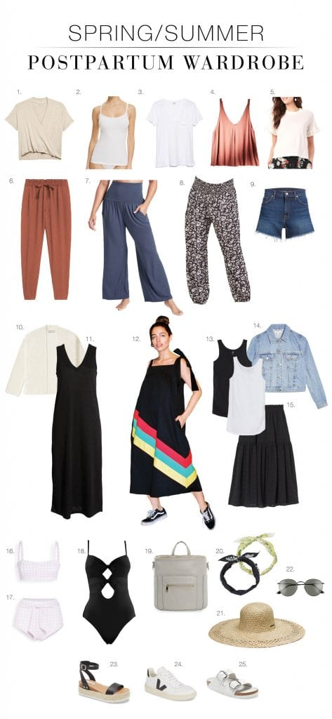 Postpartum bellies & nursing babies call for a certain outfit: nursing-friendly tops, elastic waists, postpartum swimwear...a summer capsule wardrobe, right here.